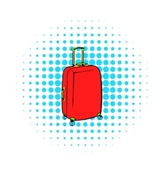 Red travel suitcase icon comics style vector image