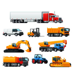 Road transport heavy machinery and vehicle icon vector