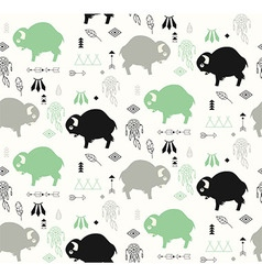 seamless pattern with cute babuffaloes vector image