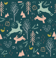 seamless pattern with reindeer hair bird and vector image