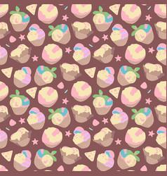 seamless summer pattern sweet desserts ice cream vector image