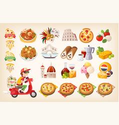set colorful italian elements symbols italy vector image