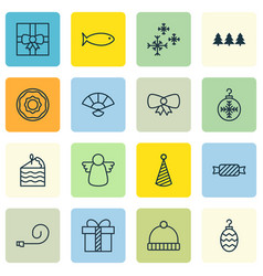 set of 16 holiday icons includes fishing vector image