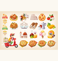 Set of colorful italian elements symbols of italy vector