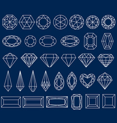 Set of precious stone cut vector