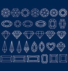 Set precious stone cut vector