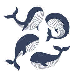set with whales vector image