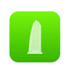 skyscraper icon digital green vector image