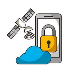smartphone cloud storage satellite security vector image