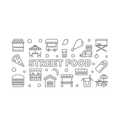 street food horizontal banner concept vector image