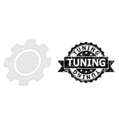 Textured tuning ribbon stamp and mesh carcass gear vector