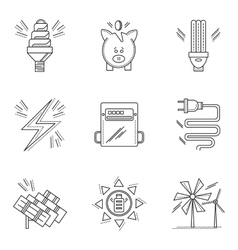 Thin line style energy saving icons vector image