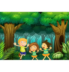 Three kids dancing in the forest vector