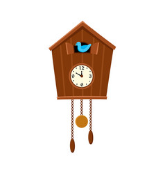 Traditional retro cuckoo clock hanging on the wall vector
