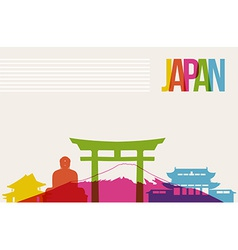Travel japan destination landmarks skyline vector
