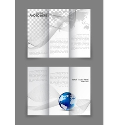 Tri-fold business wavy brochure vector image