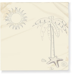 Tropical palm tree and sun sketch vector