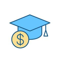 Tuition cost rgb color icon vector