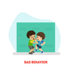 Two boys fighting bad behavior banner template vector