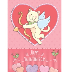 Valentine Day card with cat vector