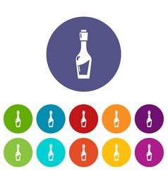 Vinegar bottle icons set color vector