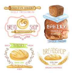 vintage bakery labelswatercolor logobread shop vector image