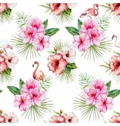 Watercolor tropical flral pattern vector