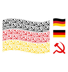 waving germany flag pattern of sickle and hammer vector image