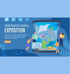Webpage inviting visit underwater world exposition vector