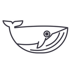 whale line icon sign on vector image