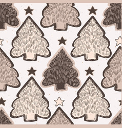 Winter rustic christmas tree lino cut texture vector