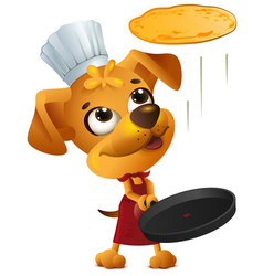 yellow fun dog chef cook throws pancake vector image