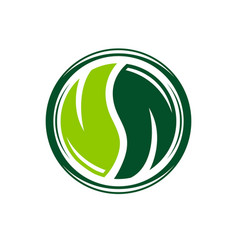 yin and yang leaf logo design vector image