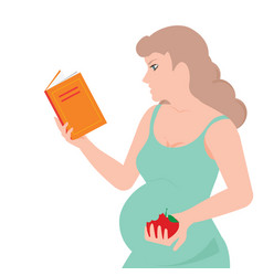 Young pregnant woman is reading a book and eating vector