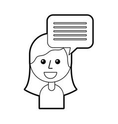 cartoon girl and speech bubble message vector image