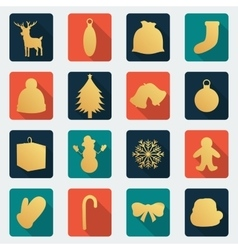 Christmas icon set Flat design vector image