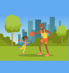 father playing ball with his son in city park vector image