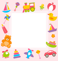 frame with cute colorful toys vector image vector image