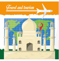 global map with tag mahal archicture of india vector image vector image