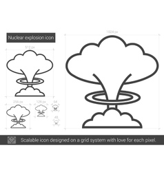 Nuclear explosion line icon vector image