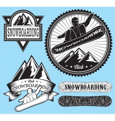 set of templates for extreme snowboarding vector image vector image