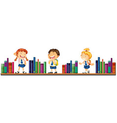 three school children and books vector image vector image