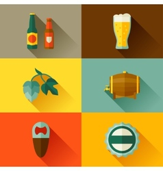 Background with beer icons and objects in flat vector image vector image
