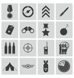 black military icons set vector image vector image
