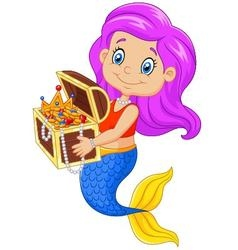 Cartoon happy mermaid holding treasure chest vector image vector image