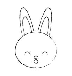 Cute sketch draw rabbit cartoon vector