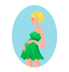 pregnant blond woman in green dress vector image vector image