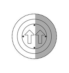 sticker silhouette metallic circular frame same vector image vector image