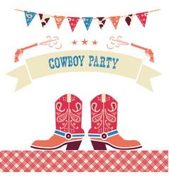 cowboy party western card symbols with cowboy vector image