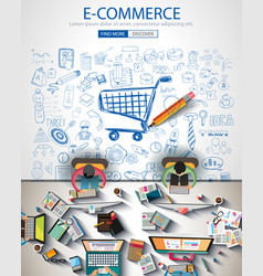 ecommerce infograph brochure template with hand vector image